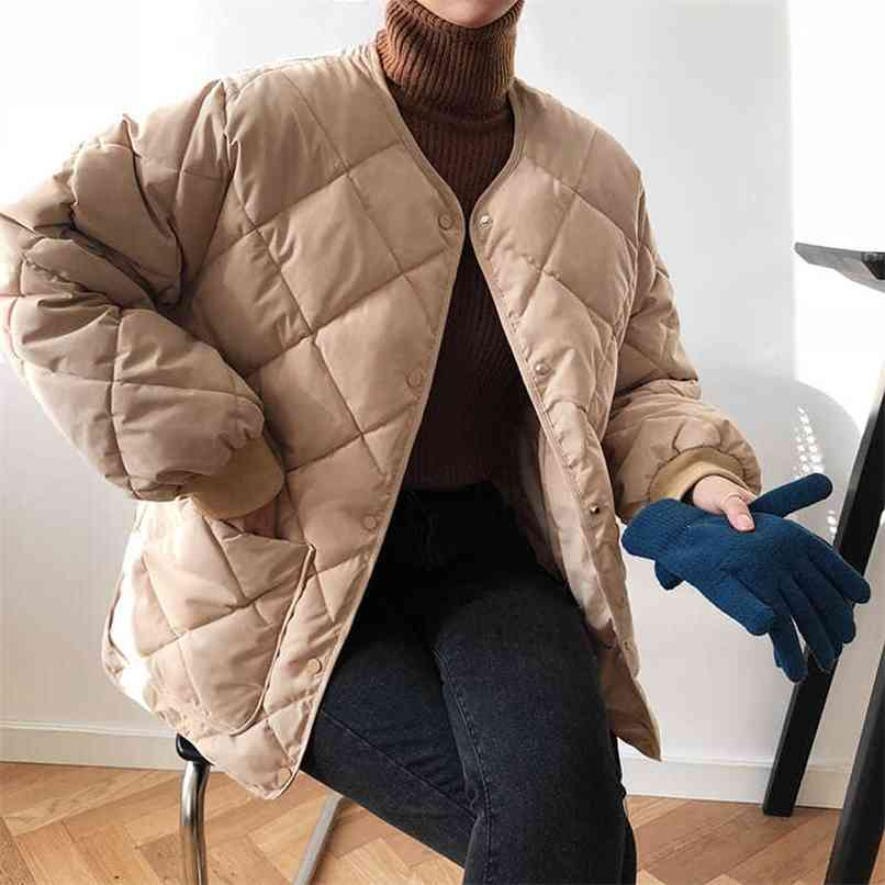 Womens Casual Coat Female Cotton-Padded Quilted Parka Jacket Down Cotton Padded Winter Coat Outwear Spring Autumn Winter 210830