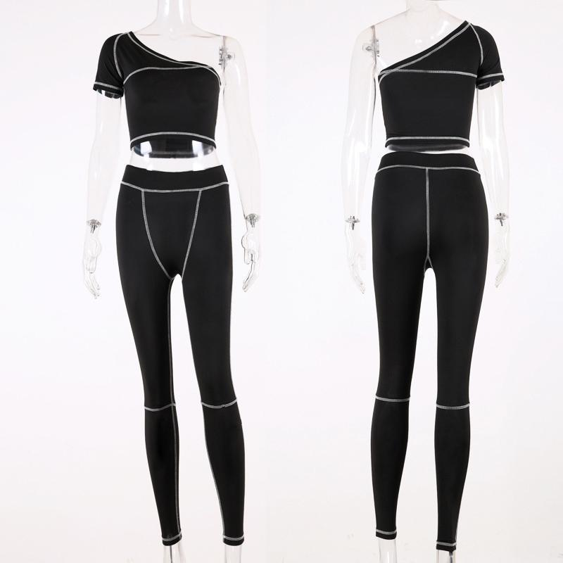 womens workout 2 two piece tracksuits sexy One Shoulder crop top leggings pants outfits set gym Yoga Sports suits jogging clubwear clothing