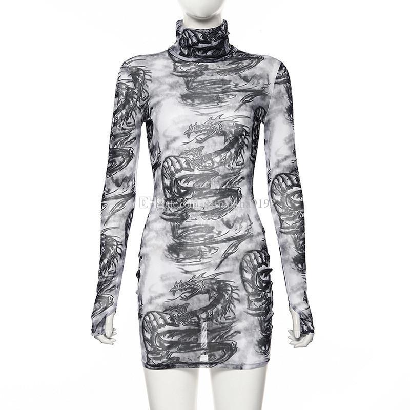 Fashion Printed High Neck Long Sleeve See Through Mesh Bodycon Dress Sexy Fall Dresses for Women Clubwear