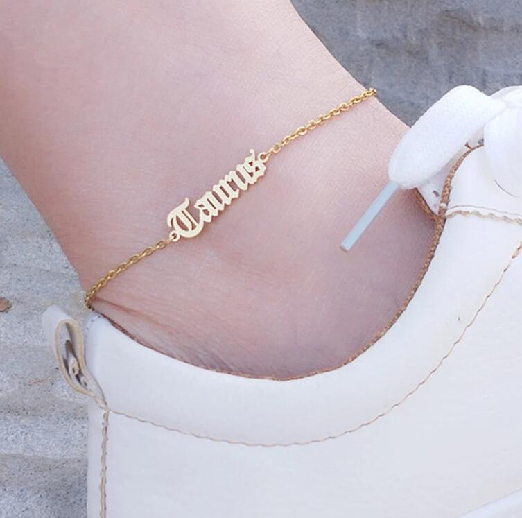 Stainless Steel Zodiac Sign Anklet Bracelet for Women HipHop Constellation Letter Anklets BFF Jewelry Aries Taurus Gemini Cancer Leo Virgo Libra Scorpio Pisces