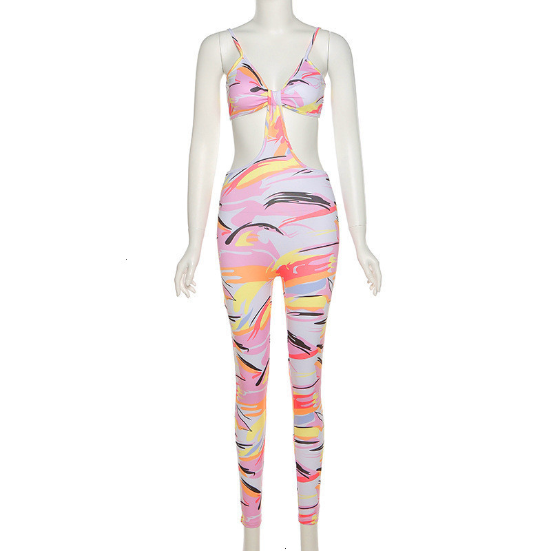 Aesthetic Print Co-ord Jumpsuit Women Sexy Camis Backless Overall Female Skinny Party Clubwear Streetwear 2021 Outfits