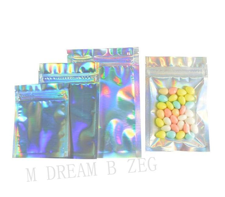 Resealable Zip Lock Bag Holographic Aluminium Foil Pouches Zipper Retail Seal Mask Gifts Packaging Bag Bracelet Rings Jewelry Storage Bag