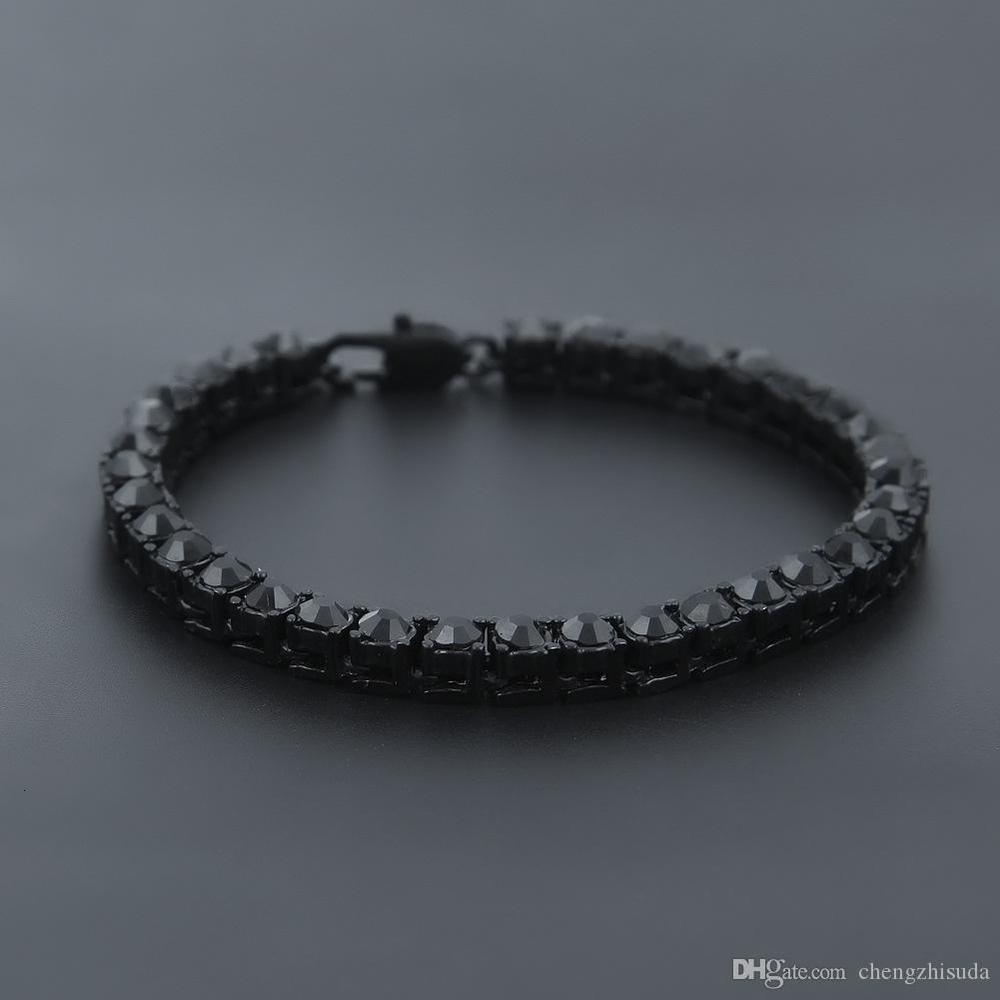 Iced Out 1 Row Rhinestones Bracelet Men Hip Hop Style Clear Simulated Diamond 7/8/9inches Bracelet Bling Bling