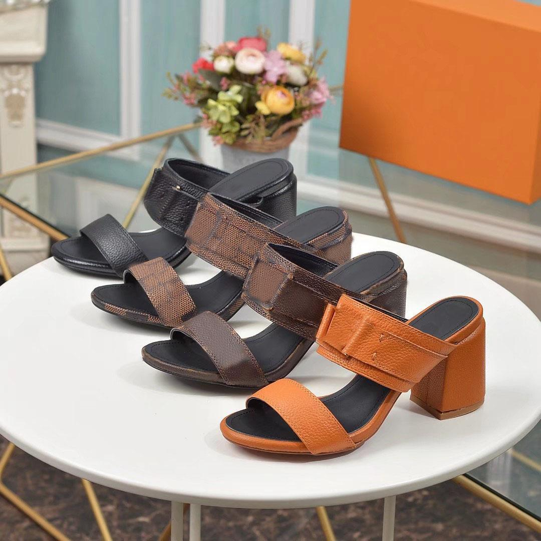Classics Women 7.5cm sandals fashion Beach Thick bottom slippers Alphabet lady Chunky heel Sandal Genuine Leather womens High heels 35-40