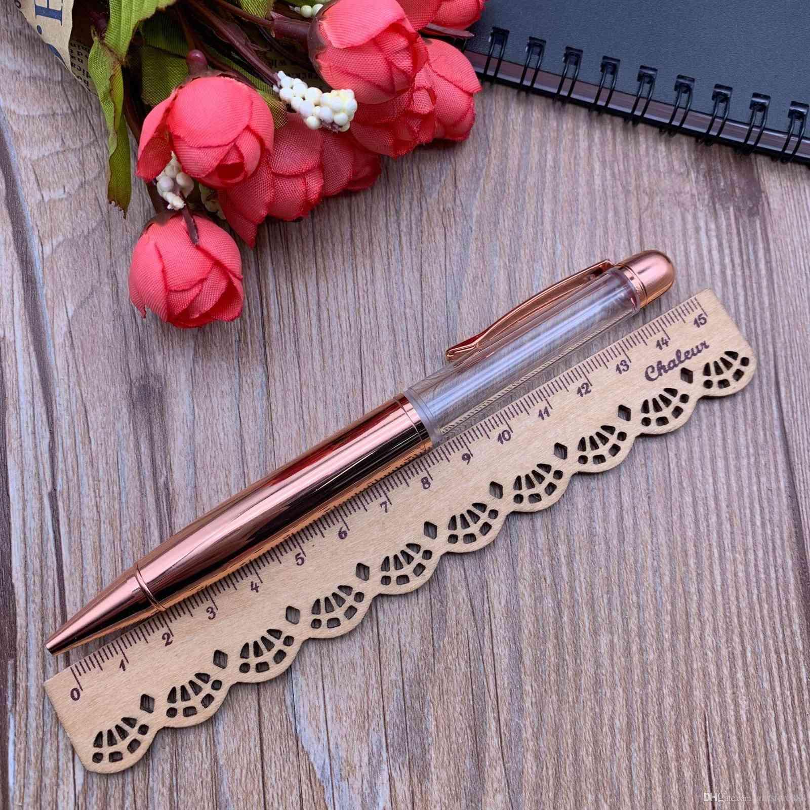 Fillable big thicker empty barrel metal pen glitter floated paillette quicksand herbarium oil 3D churry pen DIY