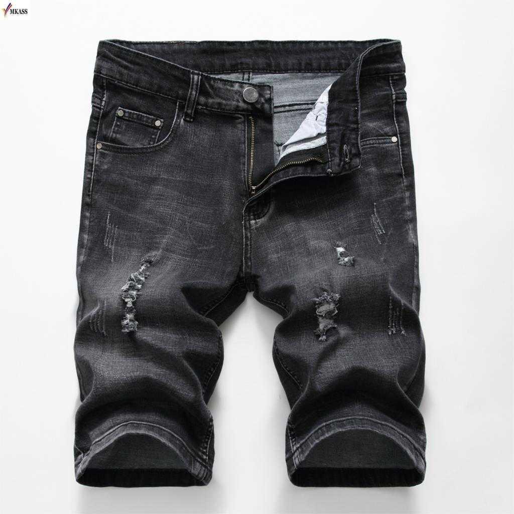 Summer Denim Shorts Men Stretch Slim Fit Short Jeans Mens Designer Cotton Casual Distressed Shorts Knee Length Pants Black Pants