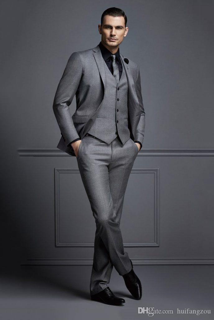 Handsome Dark Grey Mens Suit New Fashion Groom Suit Wedding Suits For Best Men Slim Fit Groom Tuxedos For Man