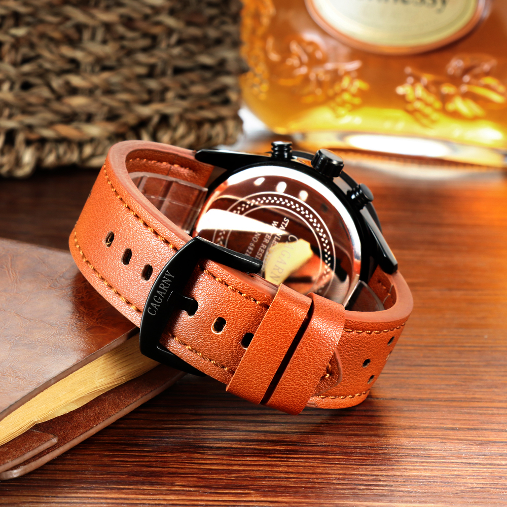cagarny watches for men quartz wrist watch leather watch strap sports watches casual clock man free shipping (7)