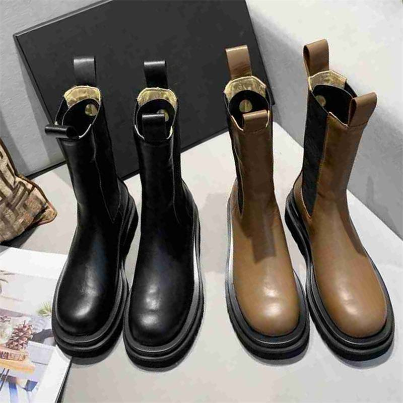 Designer Women Boots Platform Chunky Shoes Cowhide Boot Knight High-booties Round Toe Shoe Wavy Wild Comfortable Rubber Booties