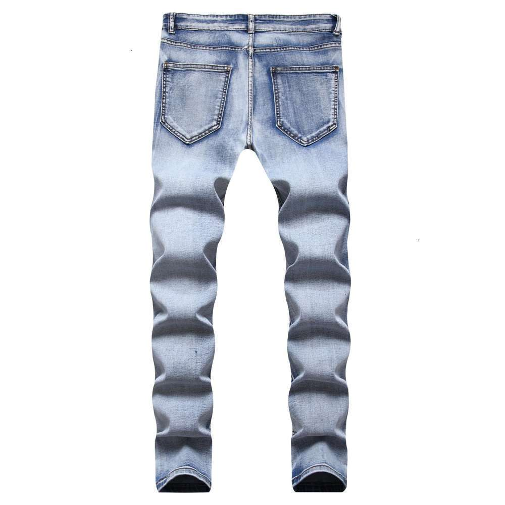 Mens Distressed Jeans with Holes Jeans Slim Fit Casual Cotton Cowboys Trousers Male Straight Wash Ripped Denim Jeans