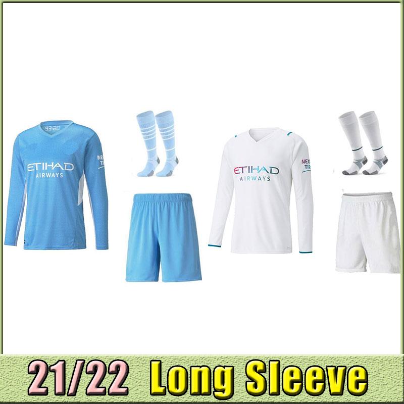 Long sleeve 21 22 New soccer jerseys 2021 2022 man CITY STERLING football shirt KUN AGUERO DE BRUYNE GESUS BERNARDO MAHREZ RODRIGO kits socks thailand fans version