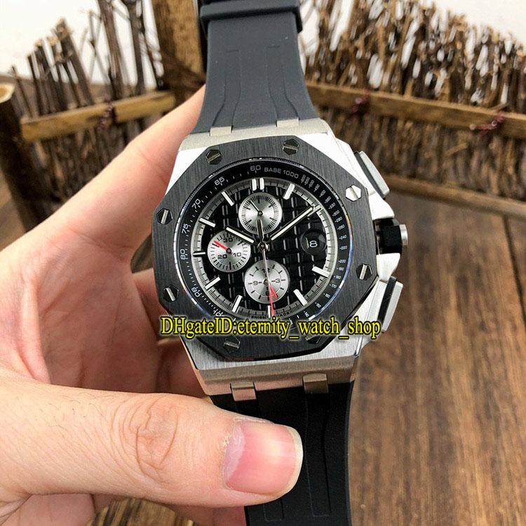 eternity Sport Watches Bests version 26400 Blacks Dial Cal.3126 Automatic Mens Watch 26400AU Sapphire PVD Black Bezel 316L Steel Case Rubber Strap 010040