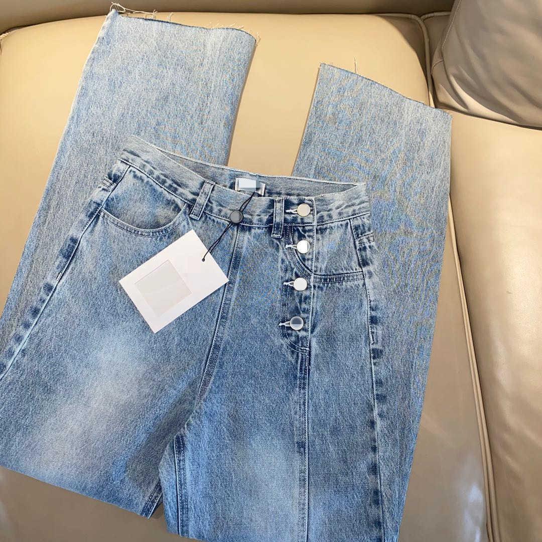 Milan Runway Jeans 2021 Autumn Blue/White Fashion Designer Straight Brand Same Style Luxury Women's Clothing 0612-15