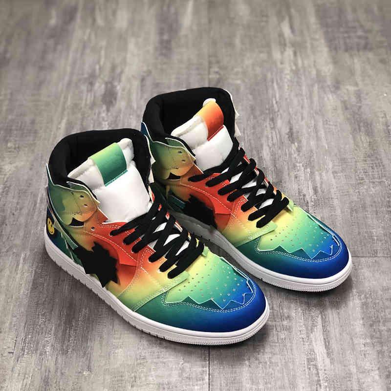 Shoes Jumpman 1 white Basketball JBalvin 1s Joint smiling face rainbow tie-dye Designer Sport Running