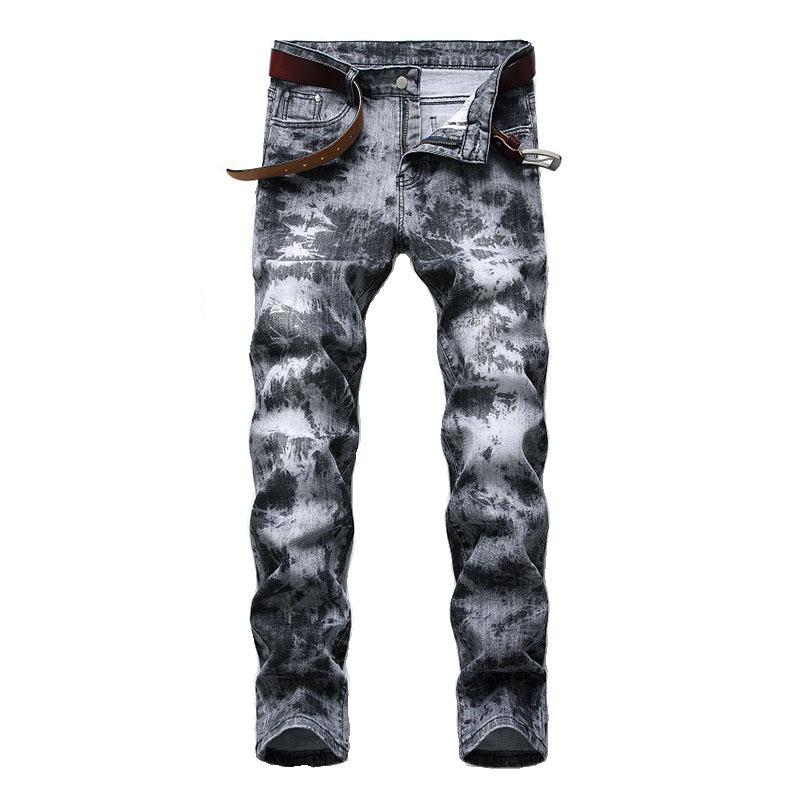 Mcikkny Mens Fashion Printed Jeans Pants Hip Hop Stretch Denim Trousers Male Streetwear (7)