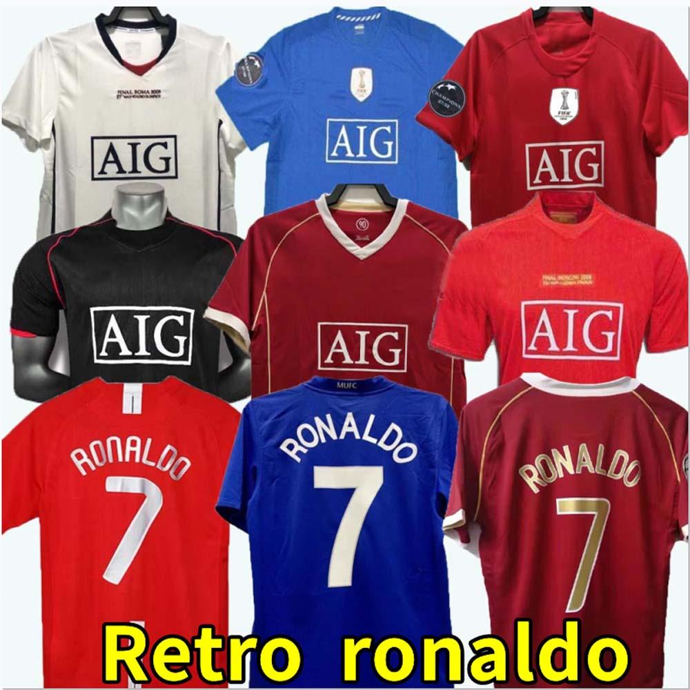 Top 07 08 manchester Retro Shirts Classic Vintage Scholes united Ronaldo Soccer Shirt 2006 2007 2008 2009 MAN UTD Soccer Shirt Rooney Giggs maillot de foot