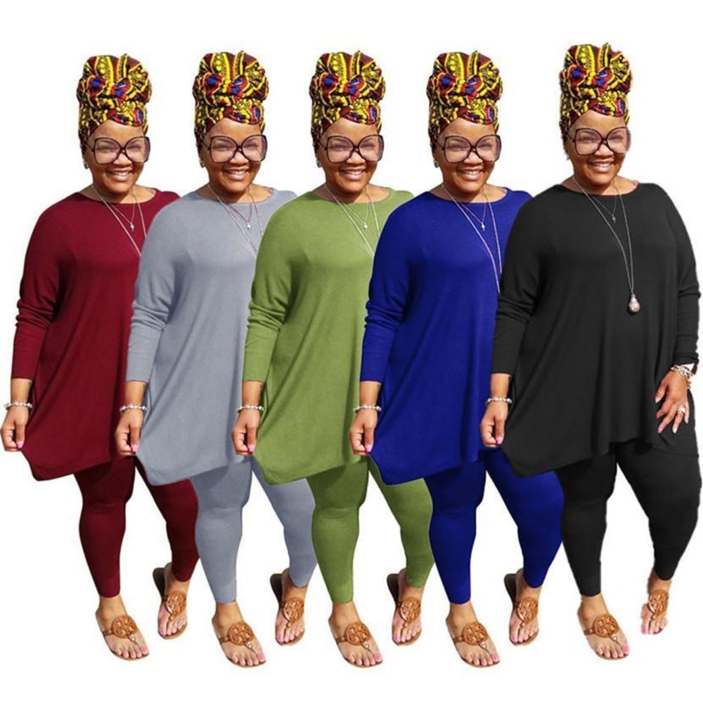 Plus size 3X 4X 5XL women designer bigger size outfits fall winter tracksuits sweatshirt+pants two piece set solid color sweatsuits 4106