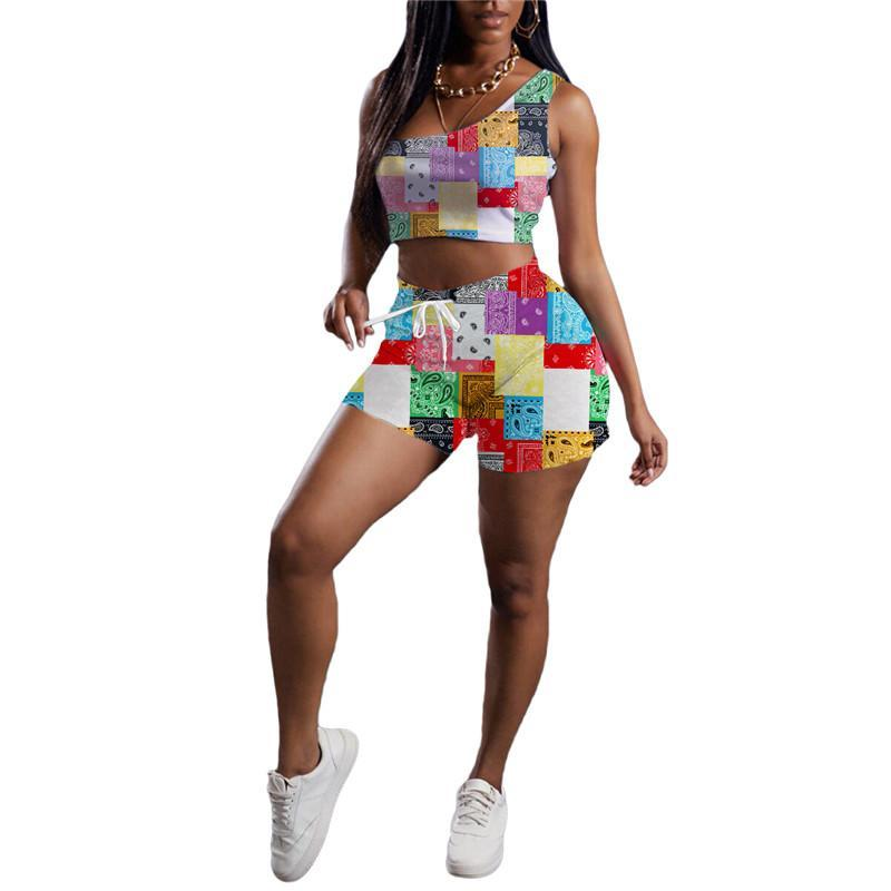 summer Womens tracksuits outfits sleeveless tank top + shorts two piece set jogging sportsuit strap vest+short legging sweatshirt pants sport suit klw6430