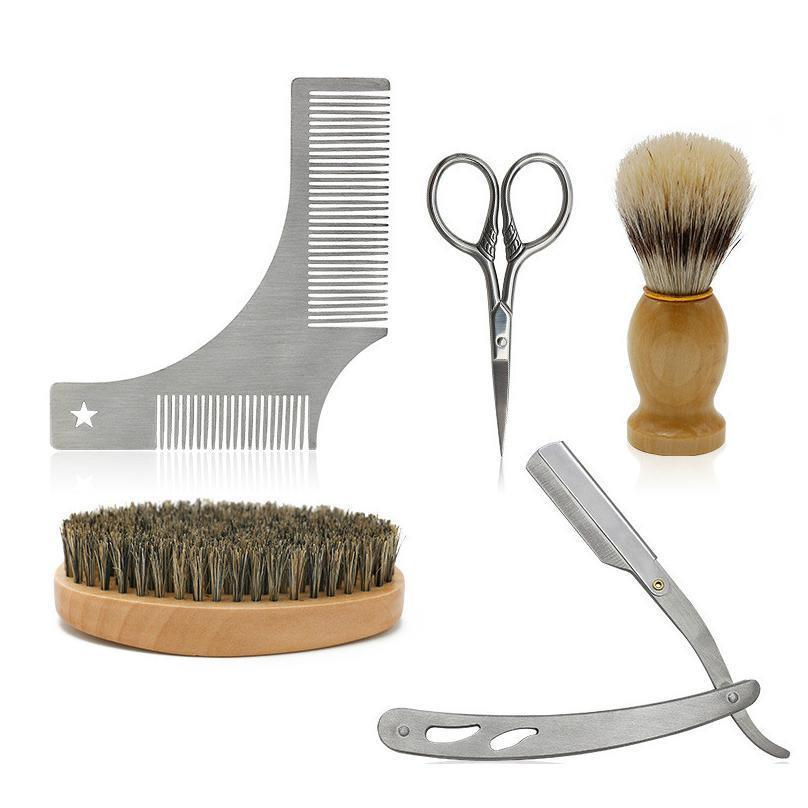 Cestomen Men Beard Tools Kit Luxury Gift Set With Beard Brush Shaving Razor Shear And Beard Comb Mustache C jllecw