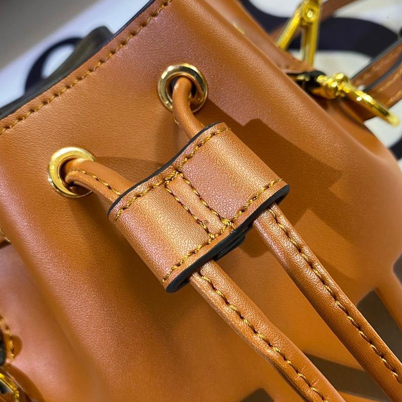 Women Handbag Purse Small Bucket Bag Genuine Leather Bag Fashion Metal Decoration Plain F Letter Removable Shoulder Strap String Bags
