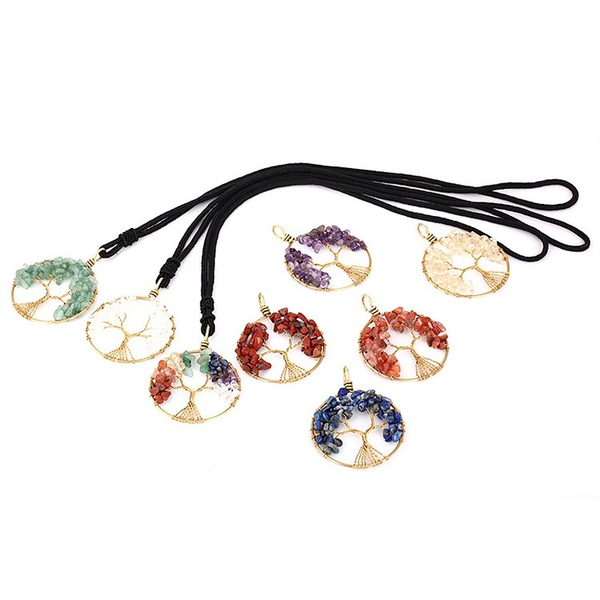Irregular Natural Stone Tree of Life Crystal yoga Chakra Necklace Fashion Jewelry Amethyst Clear Quartz Lapis Pendants Gemstone Necklaces Will and Sandy
