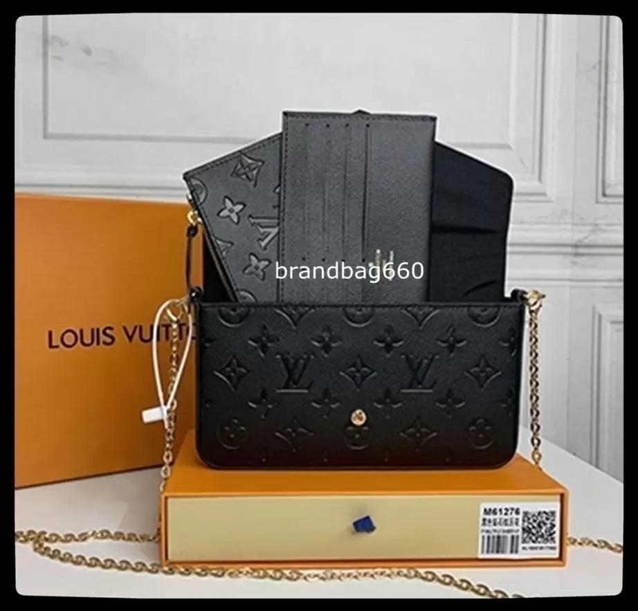Favorite Multi Pochette Accessories Designers shoulder bags genuine leather flower handbag crossbody bag 3 pcs purse