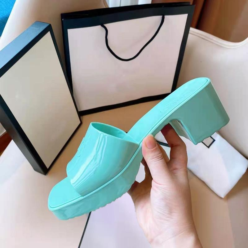 2021 Brand woman slipper Top quality designer lady Sandals summer fashion jelly slide high heel slippers luxury Casual shoes Womens Leather Alphabet beach shoe