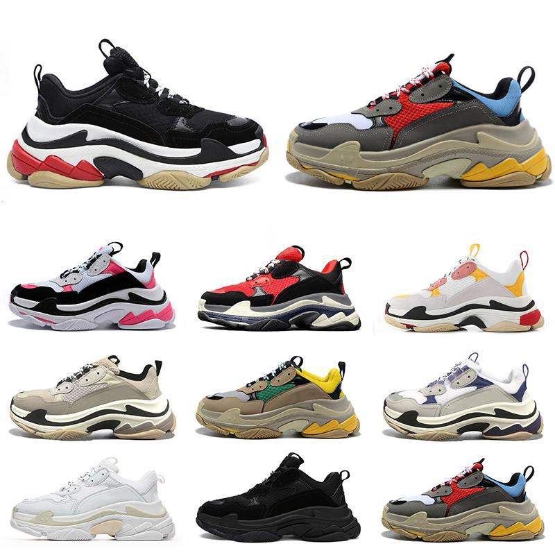 2021 Newest triple s men women designer casual shoes platform sneakers black white grey red pink blue green yellow mens trainers sports shoe 36-45