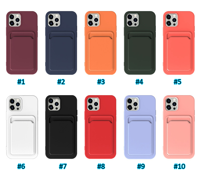 Liquid Silicone Card Slot Holder Soft TPU Cell Phone Cases for iPhone 12 11 Pro Max XR XS X 8 7 6 Plus