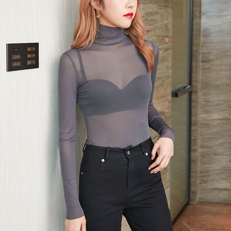 Women Sexy Lace Mesh Sheer T Shirt Transparent Tops Turtleneck See Through Cover Up Summer Female Tshirt