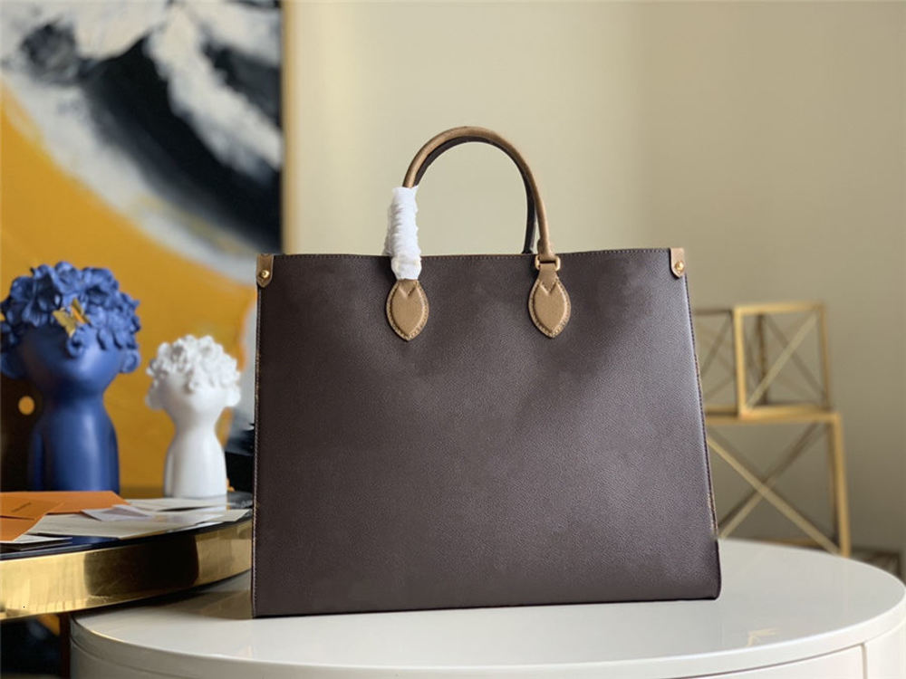 2021 Fashion high quality lady brown shopping bag luxury 3A classic brand leather canvas large capacity handbag