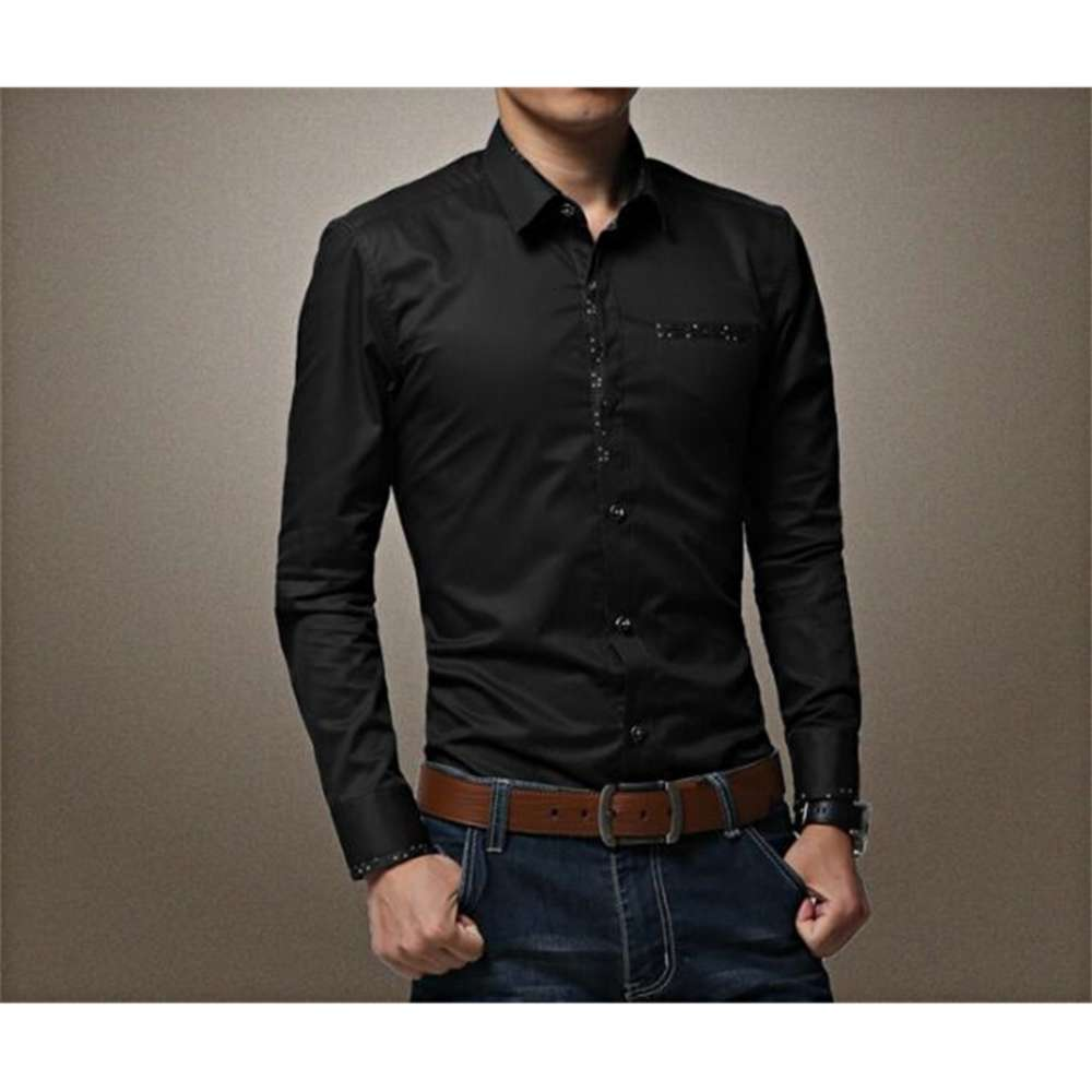 Mens Dress Shirts Fashion Solid Color White Black Business Shirts Cotton Long Sleeved Tops Plus Size Clothing 4XL 5XL