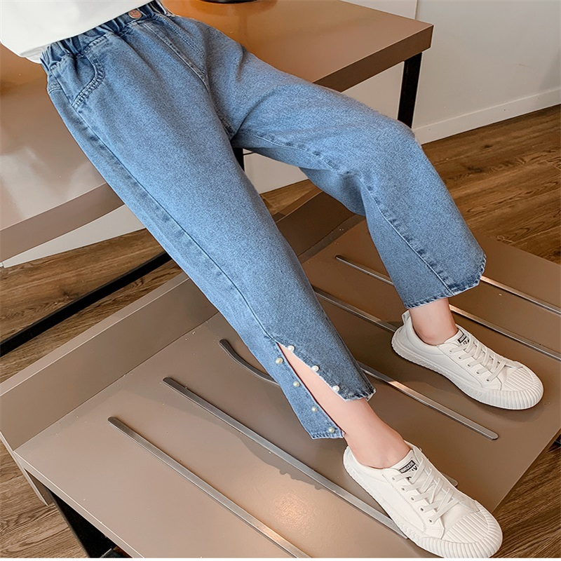 Sweet Kids Jeans Girls Pants Asymmetry Pearl slit wide-leg jeans Children Clothes For 3 4 5 6 7 8 9 10 11 12 13 Years Girl1 643 Y2