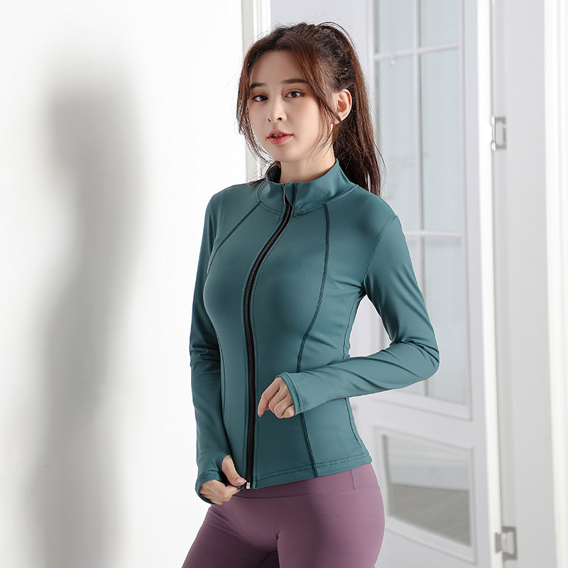 L Legging Style Yoga Clothes Coat Womens Stand-up Collar Long Sleeve Shirt Stretch Outdoor Workout Clothes Running Clothes Sports Jacket