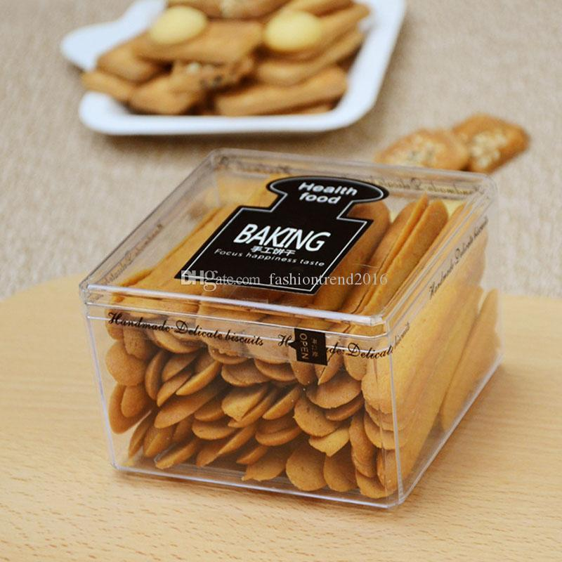 Food Grade Plastic Biscuit Packing Boxes Clear DIY Chocolate Cookies Box Wholesale Baking Candy Box Container
