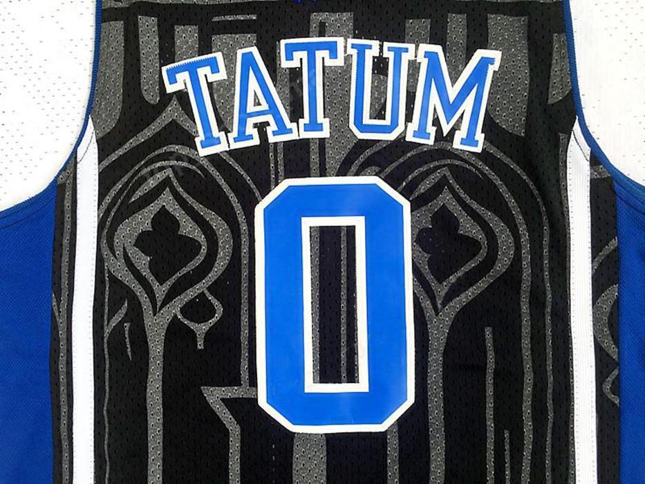 Men 0 Jayson Tatum College Jersey Black Blue White Duke Devils Basketball Jerseys Color Stitched Sport Breathable Excellent Quality Athletic Outdoor Apparel