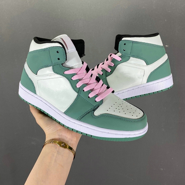 Dutch Green Casual Skate Shoes White Green Pink Mens Sports Sneakers 1 Mid SE Lace-up Women Shoes