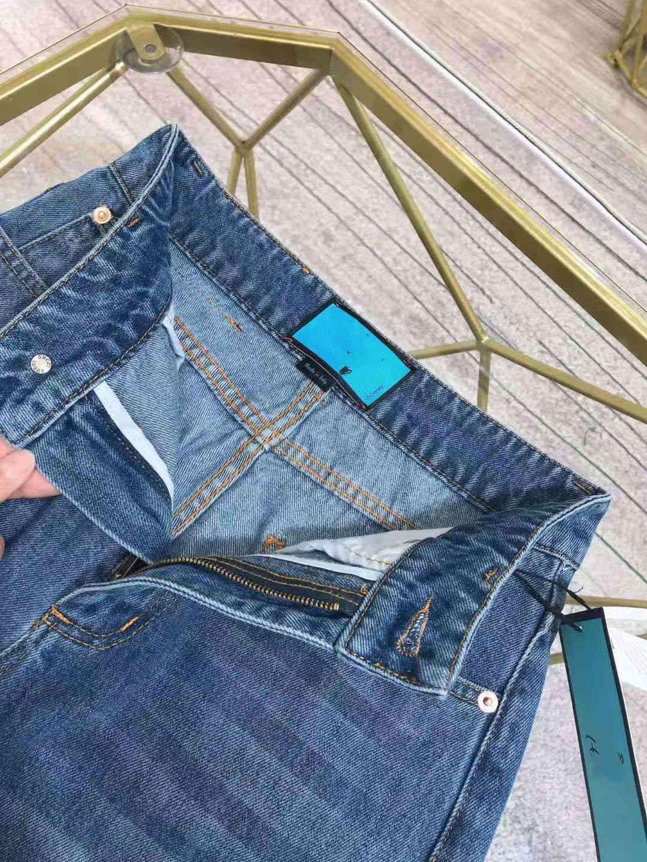 Milan Runway Jeans 2021 New Fashion Designer Straight Jeans Brand Same Style Luxury Women's Jeans 1227-36