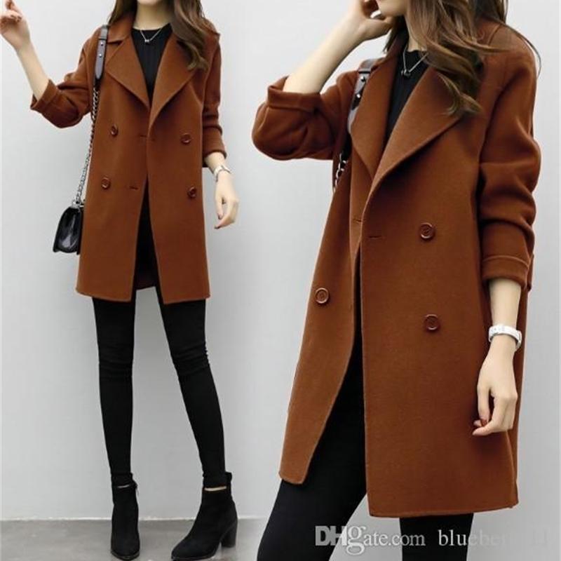 New Womens Slim Wool Blend Coat Coats Long Sleeve Jackets Turn-down Collar Casual Jacket Autumn Winter Jacket Elegant Overcoat