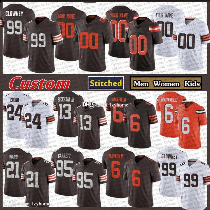 99 Jadeveon Clowney 6 Baker Mayfield Custom Men Women Kids Football Jerseys 24 Nick Chubb 95 Myles Garrett 21 Denzel Ward 80 Landry ClevelandBrownsKareem Hunt