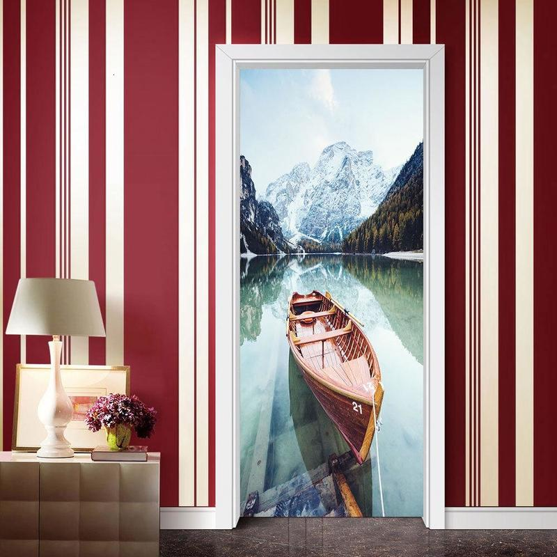 2020 Living Room Decoration Wallpaper Home Deco Adhesive PVC Sticker 3D Secnery Lake Boat DIY Wall Art Paper Mural Painting Stickers
