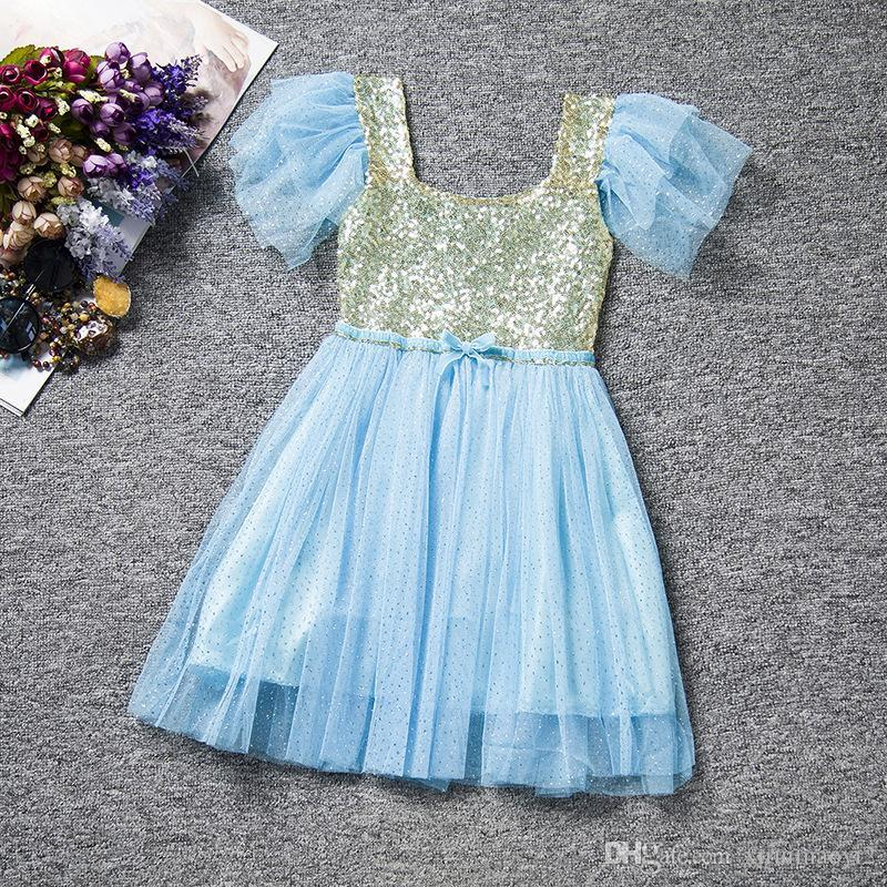 Wholesale Christmas Baby Girls Lace Tutu Dresses Childrens Prubcess Sequins Dresses for Kids Clothing Winter Summer Party Dress
