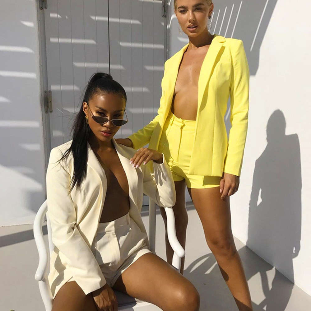 Solid Color Womens Pant Suits Long Blazer Short Pants Suits Casual Loose Lapel Neck Single Breasted Ladies Sets