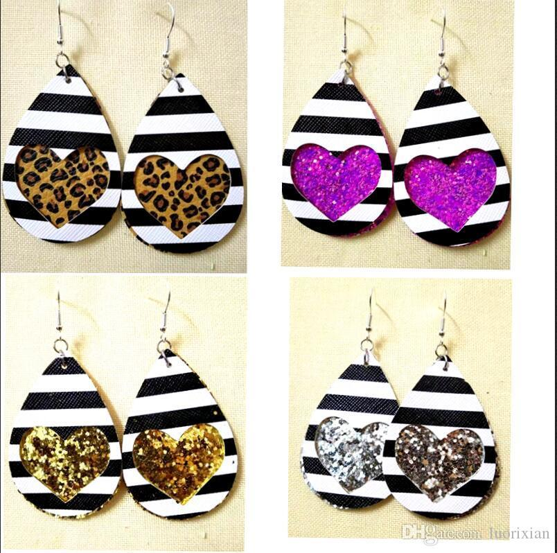Fashion Jewelry Women Valentines Day Gift printed heart Water Drop pu leather Drop Earring