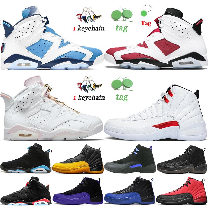Jumpman Air Jordan Retro 6s 12s Men Sneakers Basketball Shoes Mens 6 Hare UNC Gold Hoops DMP British Black Infrared Flu Game Twist Hommes outdoor sports Trainers