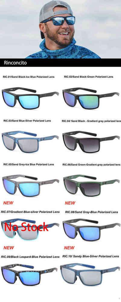 580P Rinconcito Square Sunglasses Men Costa Brand Design Sport Polarized Mirrors Coating Driving Eyewear Male UV400 Oculos