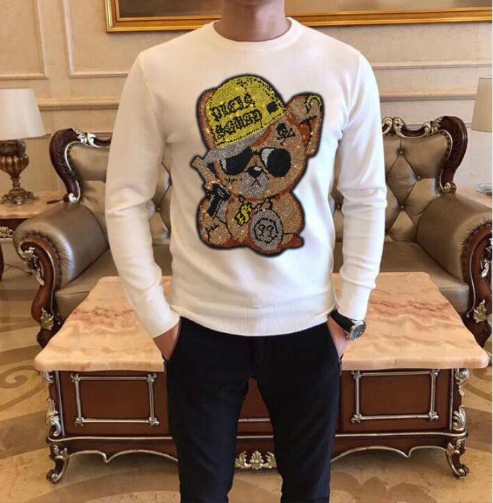 Men's Diamond stone sweaters winter male fashion white and black designer