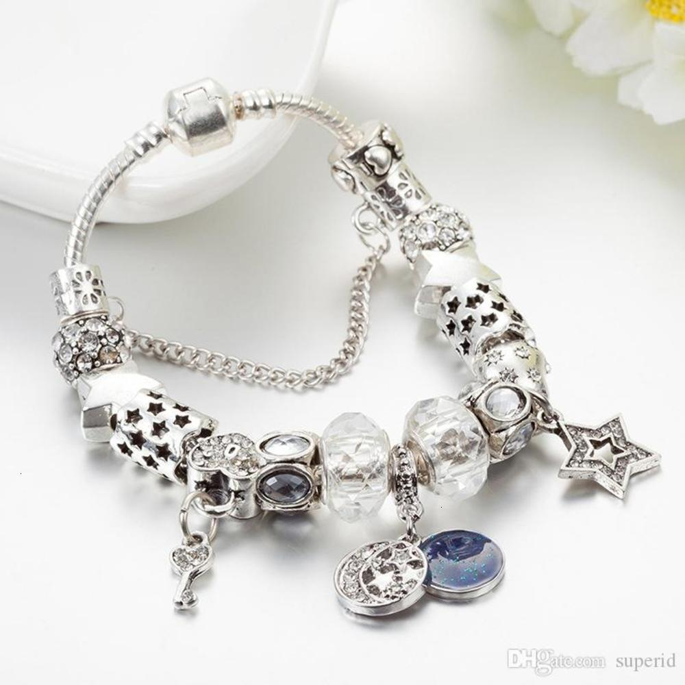 Fashion Charm Bead Bracelet for Pandora Jewelry Silver Star Moon Pendant Beaded Lady Bracelet with Original Box Birthday Gift