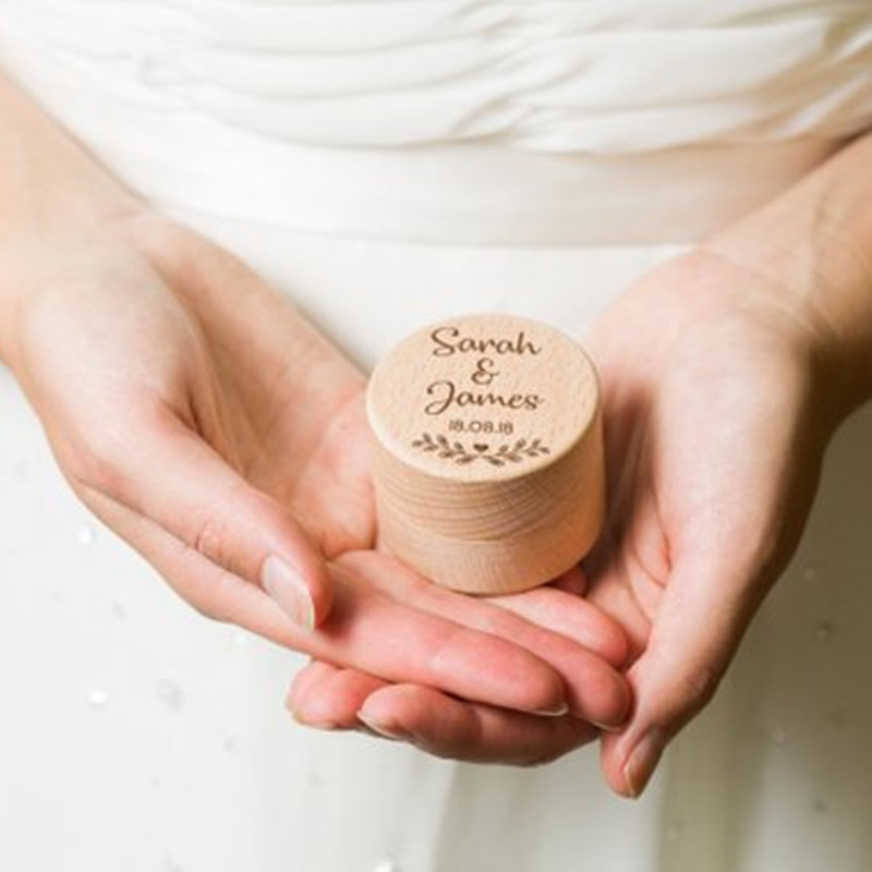 Rustic Wedding Ring Box Personalized Wooden Ring Bearer Box Ring Holder Country Wedding Decoration Marriage (3)