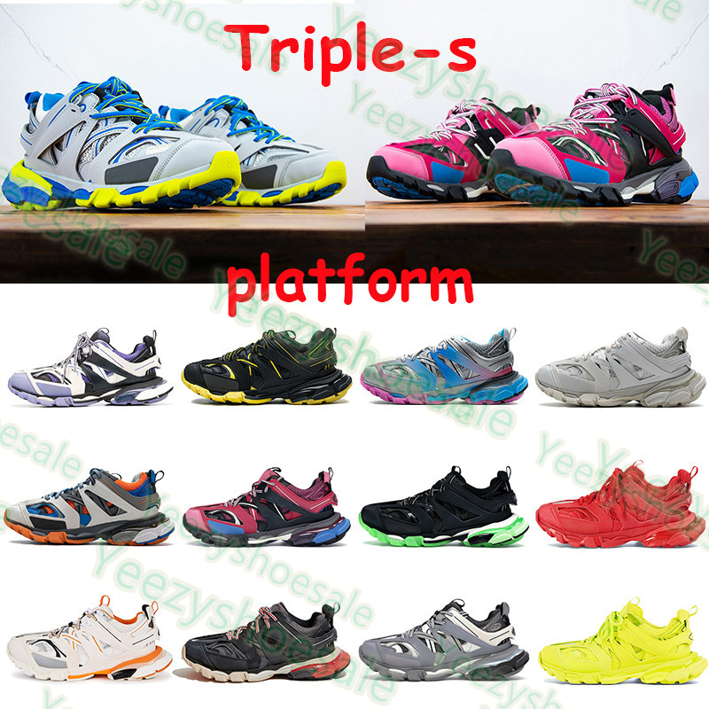 Triple s mens platform casual shoes 3.0 sneakers runner blue pink black red trainer lime white burgundy men women vintage trainers